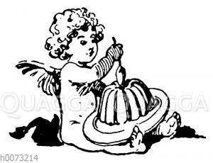 Kleiner Engel mit Guglhupf