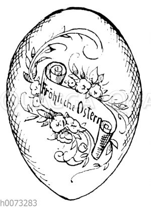 Osterei mit Schriftzug 'Fröhliche Ostern' auf Banderole