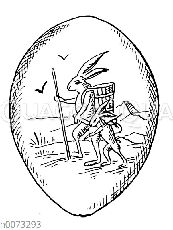 Osterei mit Motiv: Osterhase mit Osterhasenkind und Kiepe
