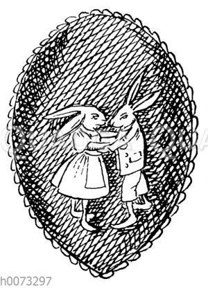 Osterei mit Motiv: Tanzendes Osterhasenpaar