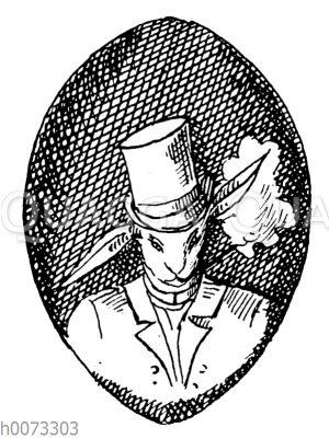 Osterei mit Motiv: Osterhase mit Hut