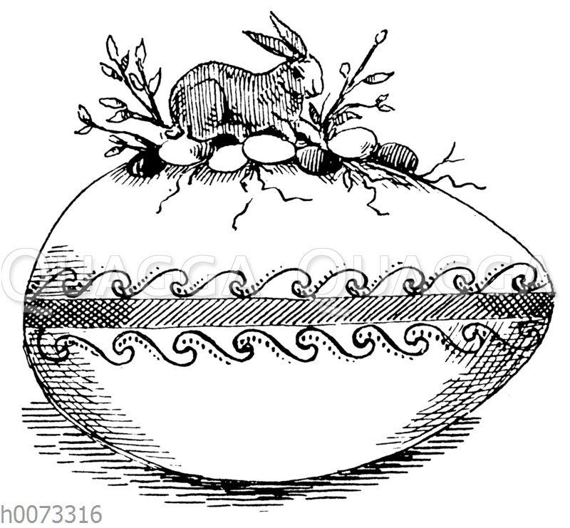 Osterei mit darauf sitzendem Osterhasen