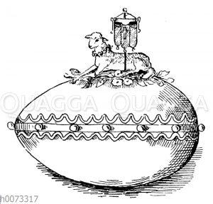 Osterei mit darauf sitzendem Osterlamm