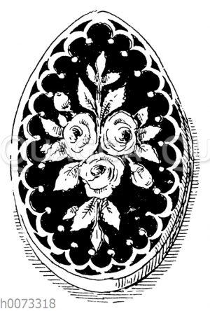 Osterei mit Rosenornament