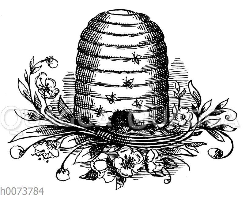Von Bienen umschwirrter Bienenkorb