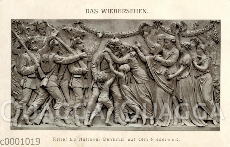 Das Wiedersehen. Relief am National-Denkmal auf dem Niederwald