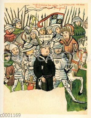 Jan Hus auf dem Weg zum Scheiterhaufen