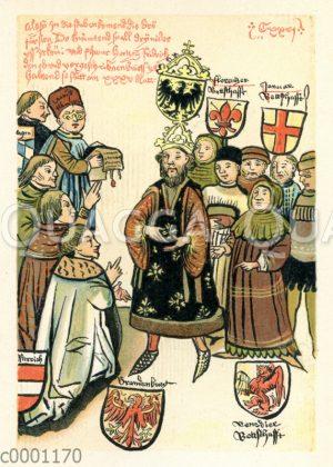 Älteste zeitgenössische Darstellung der Belehnung Friedrichs