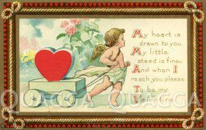 Valentinskarte: Engel zieht Wägelchen mit einem Herzen