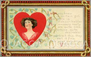 Valentinskarte: Frauenbildnis in Herz