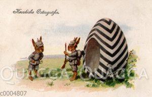 Osterhasen als Soldaten bei der Wache