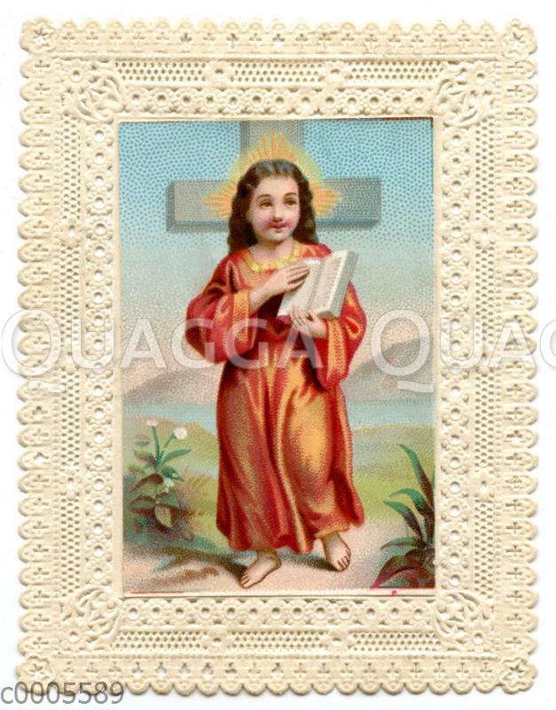 Andachtbild mit Papierspitze: Jesus Christus mit Buch