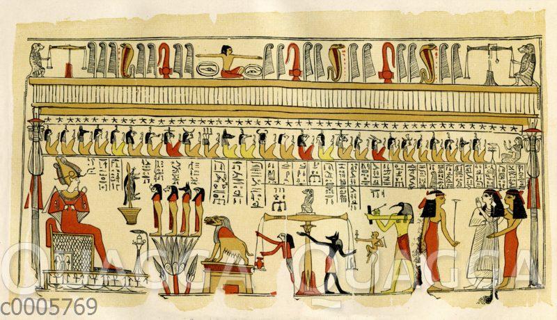 Totengericht vor dem Gott Osiris im unterirdischen Gerichtssaal