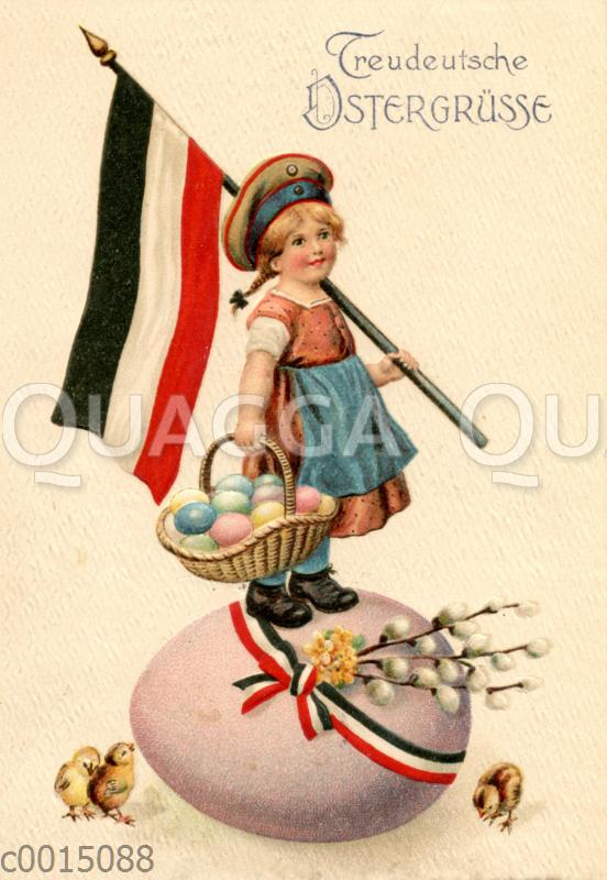 Mädchen steht mit Reichsfahne auf einem Osterei