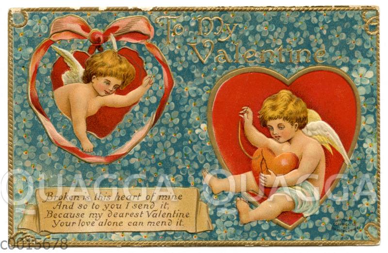 Valentinskarte mit abgestoßenen Rändern: Engel flicken ein Herz