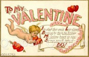 Valentinskarte: Engel fliegt mit Herz in der Hand