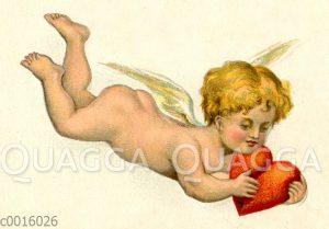 Nackter kleiner Engel fliegt mit Herz in der Hand
