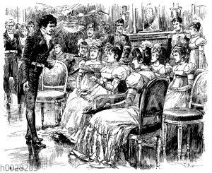 Mann im Frack fordert Dame auf einem Ball zum Tanz auf