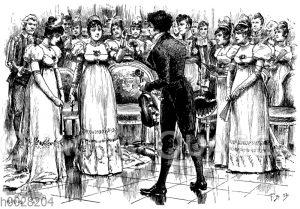Frau winkt auf einem Ball dem Violoinisten zu