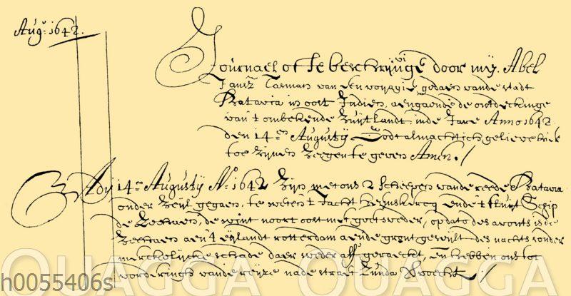 Abel Tasman: Seite aus dem Tagebuch seiner ersten Reise im Jahr 1642