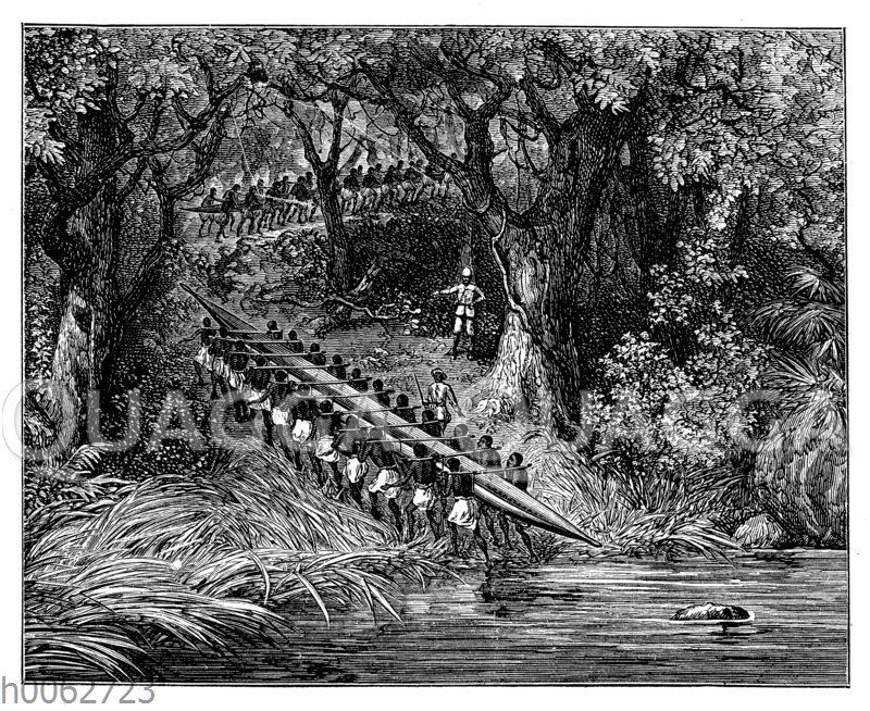 Transport der Kanus über Land