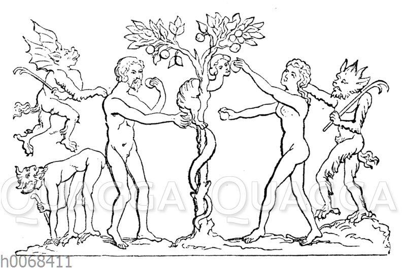 Adam und Eva werden von Teufel verführt.