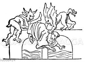 Ein unkeuscher Mönch wird von zwei Teufeln in den Tiber geworfen