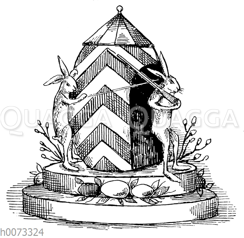 Zwei Hasen halten Wache an als Wachhäuschen dekoriertem Osterei
