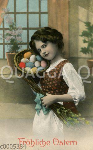 Mädchen mit Nest voller Ostereier