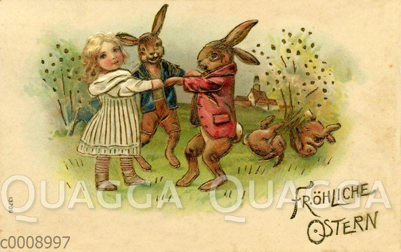 Mädchen tanzt mit Osterhasen Ringelreihen