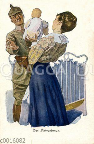 Frau präsentiert dem aus dem Krieg heimkommenden Vater den gemeinsamen Sohn