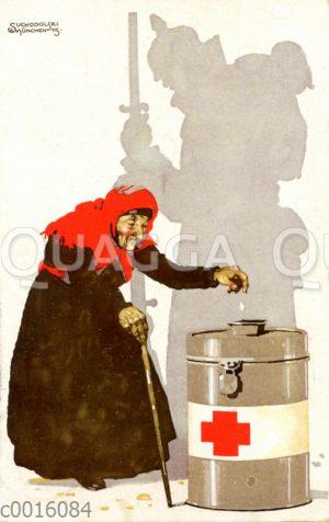 Gebückte alte Frau spendet für die Verwundeten des 1. Weltkriegs