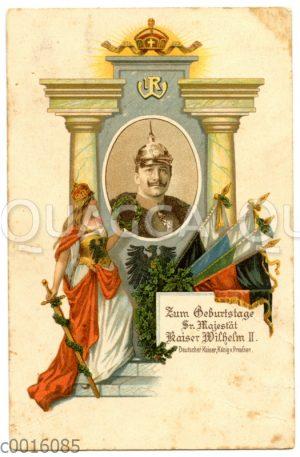 Postkarte auf den Geburtstag Kaiser Wilhlem II.