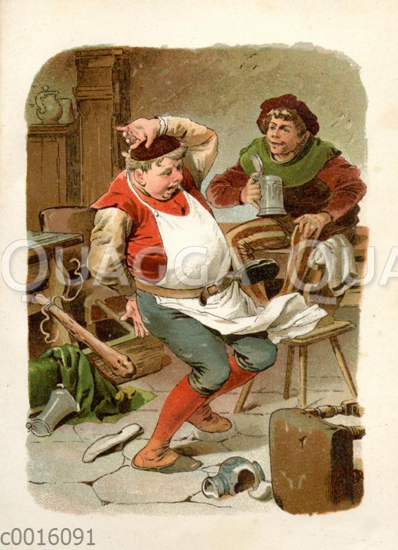Tischlein-deck-dich: Knüppel-aus-dem-Sack verprügelt den Gastwirt