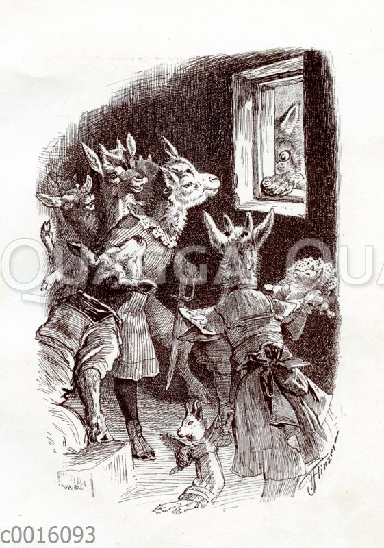 Die sieben Geißlein sehen den Wolf im Fenster