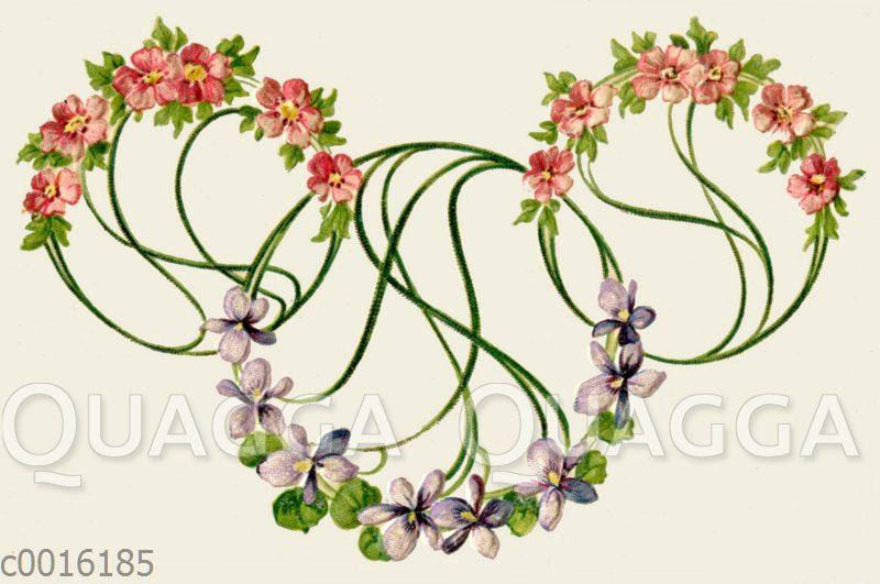 Jugendstil-Ornament mit Veilchen und Anemonen