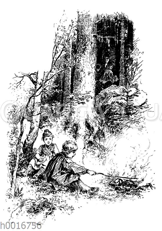 Hänsel und Gretel allein im Wald