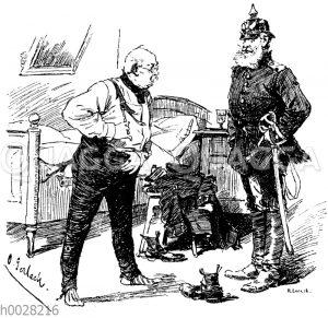 Soldat mit Pickelhaube und sich ankleidender Mann