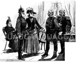 Soldaten mit Pickelhaube im gesellschaftlichen Leben des Wilhelminismus