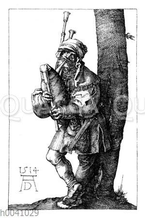 Dudelsackspfeifer. Kupferstich