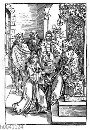 Konrad Celtes überreicht Kaiser Friedrich III. seine Werke