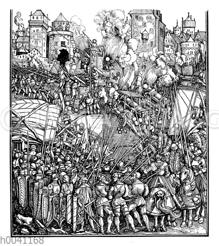 Beschießung und Erstürmung einer Stadt durch die Truppen Maximilians I.