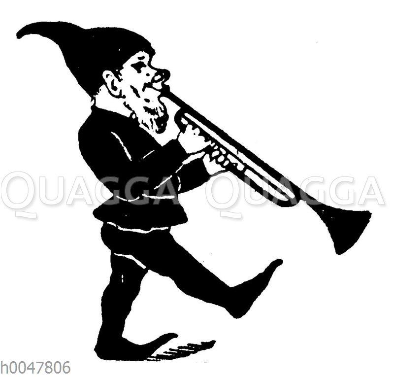 Vignette: Zwerg mit Trompete