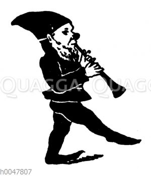Vignette: Zwerg mit Flöte
