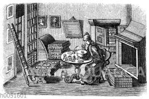 Insektensammler. Nach einem Kupferstich von 1733
