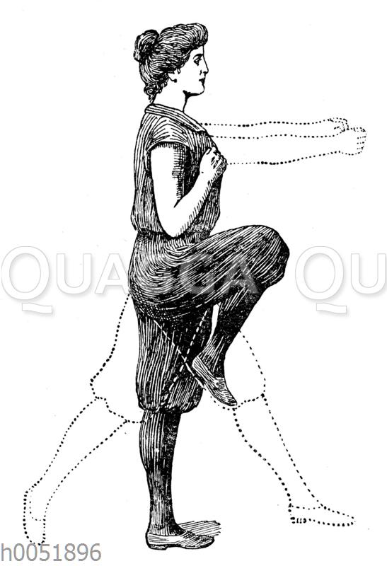 Gymnastik: Strecken des Beines