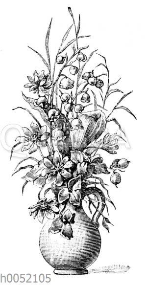 Blumenvase mit Maiglöckchen und anderen Blumen