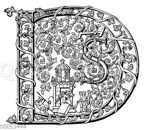 Initiale D aus dem 9. Jahrhundert