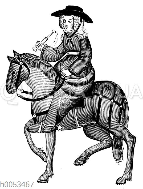 Die Witwe von Bath. Aus dem Elesmere Manuskript von Chaucers Canterbury Tales