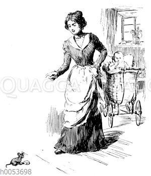 Frau erschrickt vor einer Maus